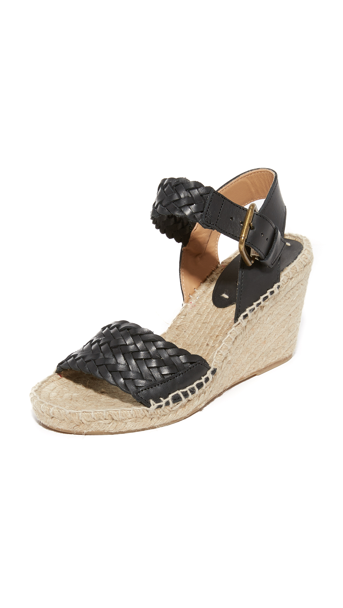 soludos female soludos woven leather wedge espadrilles black