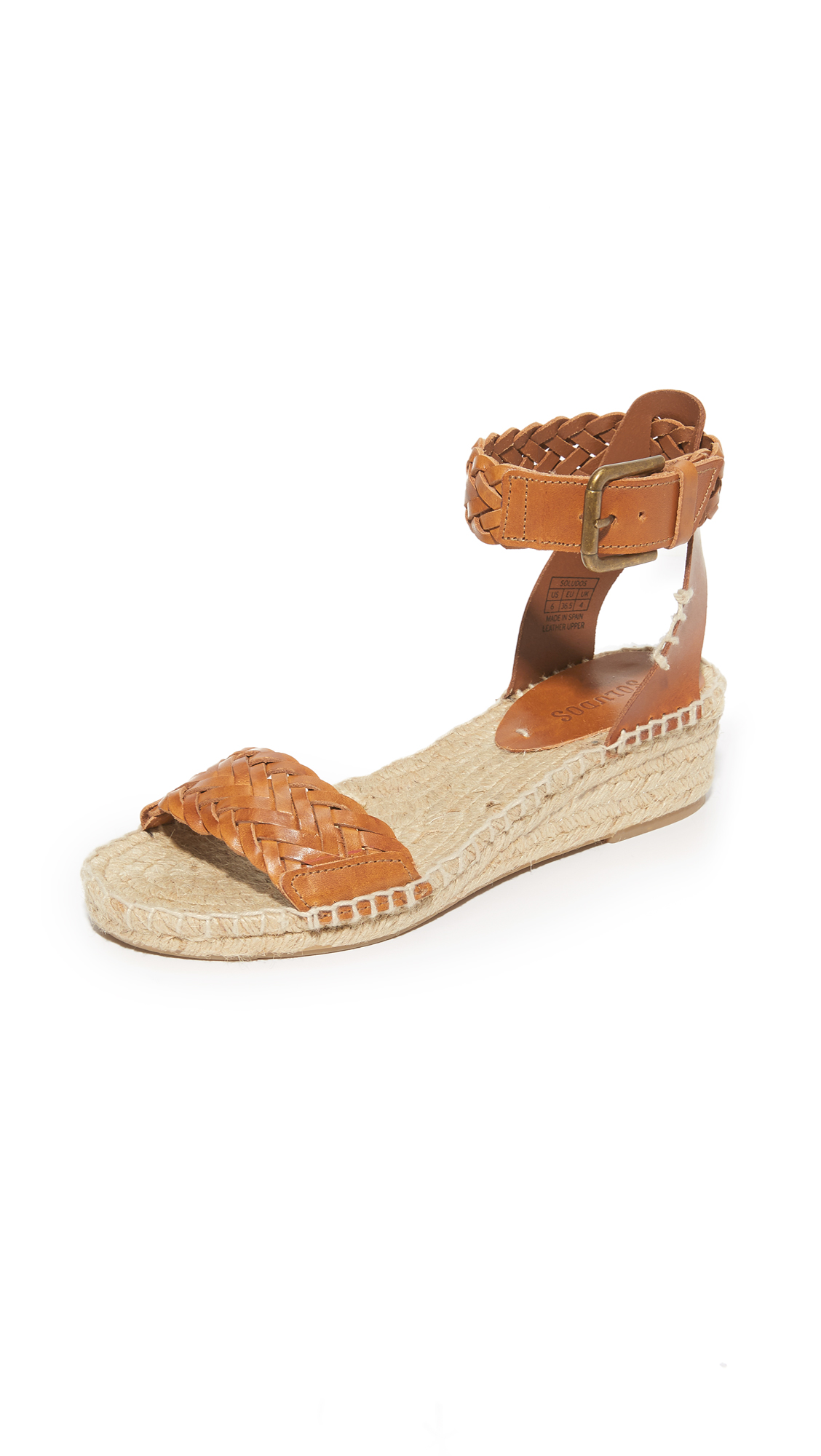 Soludos Woven Leather Demi Wedges - Camel