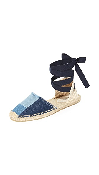 Soludos Patchwork Espadrille Sandals - Denim