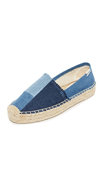 Soludos Patchwork Platform Smoking Slippers - Denim