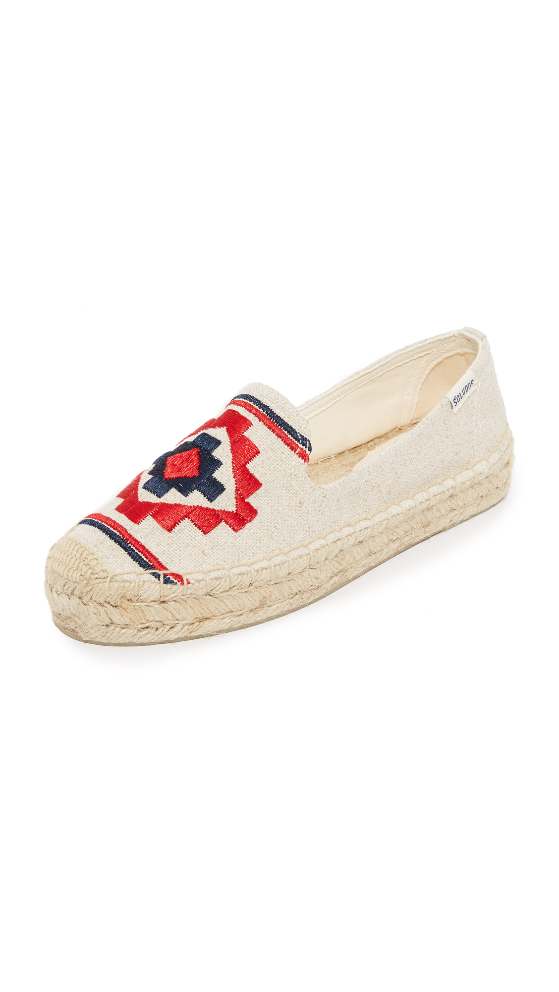 soludos female soludos embroidered platform smoking slippers sand