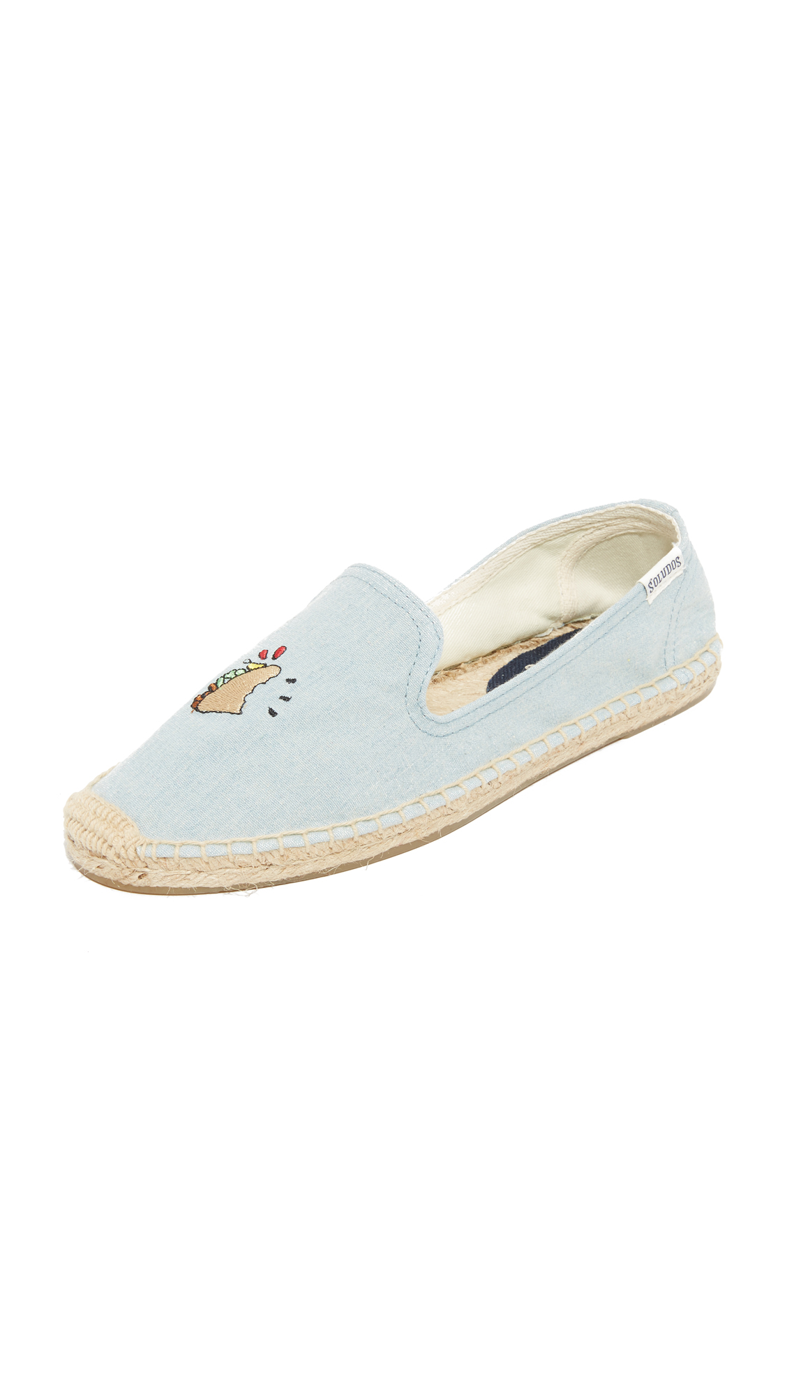 soludos female soludos taco smoking slippers light chambray
