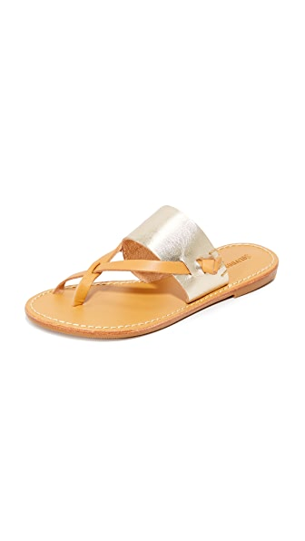 Soludos Slotted Thong Sandals - Metallic Platinum