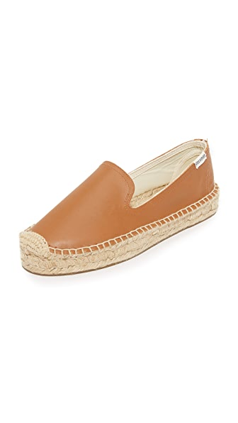 Soludos Platform Leather Smoking Slippers at Shopbop