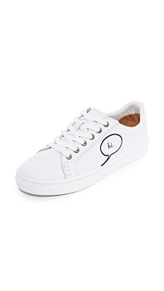 Soludos x Ashkahn Embroidered Lace Up Sneakers - White