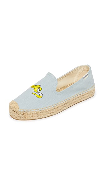 Soludos Banana Platform Smoking Slippers - Chambray