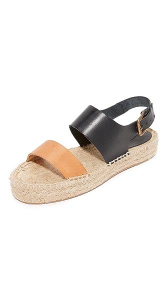 Soludos Bicolor Platform Sandals - Black/Nude