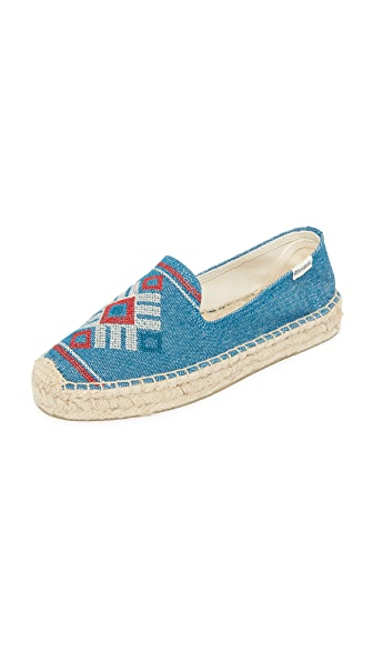 Soludos Yucatan Platform Smoking Slippers - Ocean Blue