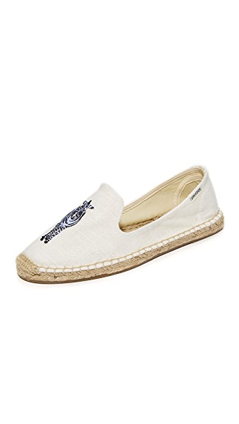 Soludos Zebra Smoking Slippers - White