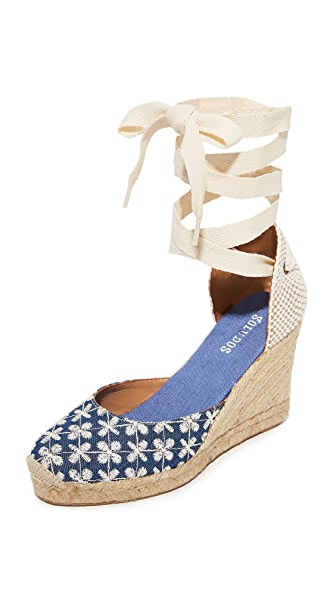 Soludos Pattern Tall Wedge Espadrilles - Denim