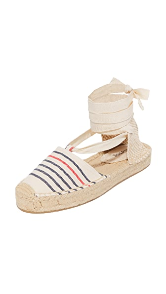 Soludos Striped Gladiator Sandals - Red/Navy/Natural