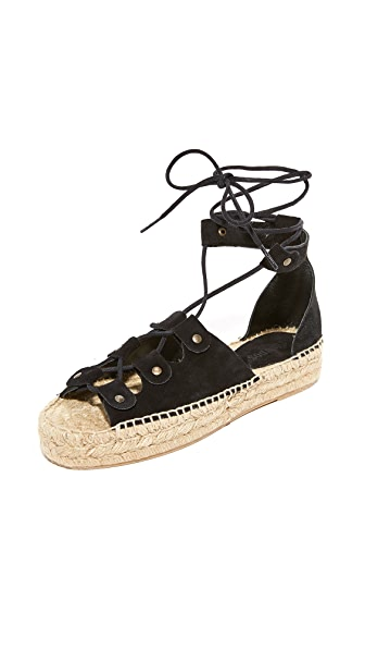 Soludos Ghillie Platform Sandals - Black