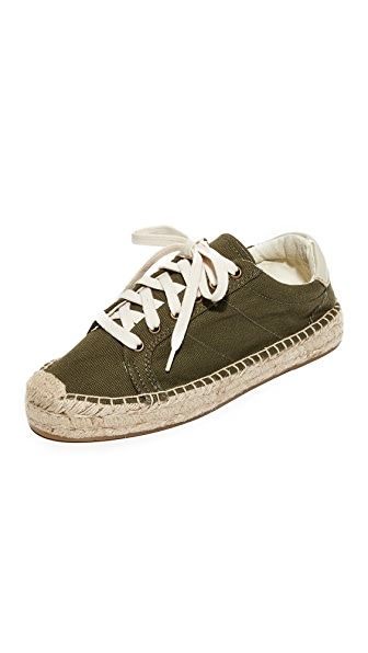 Soludos Platform Tennis Sneakers - Camo Green