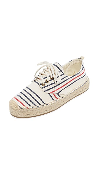 Soludos Oxford Lace Up Platform Espadrilles - Red/Navy/Natural