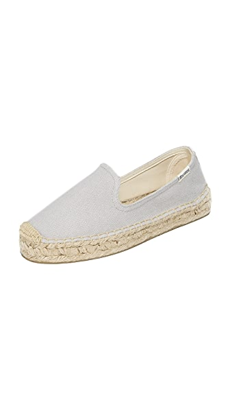 Soludos Canvas Platform Smoking Slippers - Dove Gray
