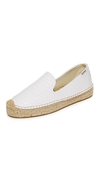 Soludos Snake Platform Smoking Slippers - White