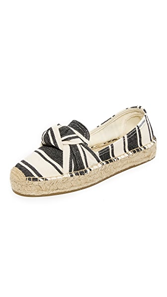 Soludos Knotted Platform Smoking Slippers - Black/Natural