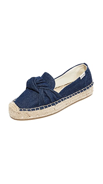 Soludos Knotted Platform Smoking Slippers - Dark Denim