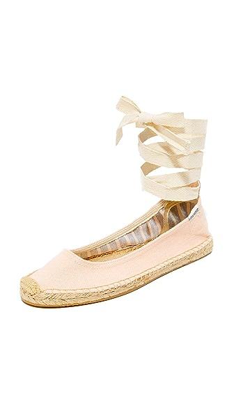 Soludos Ballet Tie Up Flats - Soft Rose