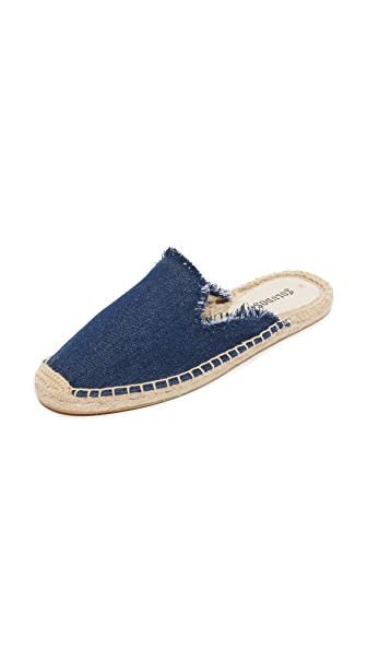 Soludos Frayed Mules - Dark Denim