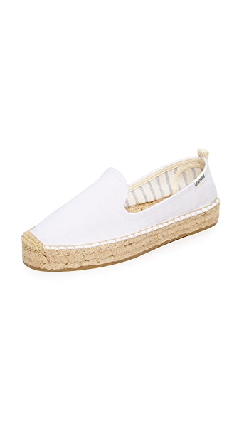 Soludos Platform Smoking Slippers - White