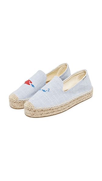 Soludos x Mary Matson Hungry Fish Platform Espadrilles In Light Blue