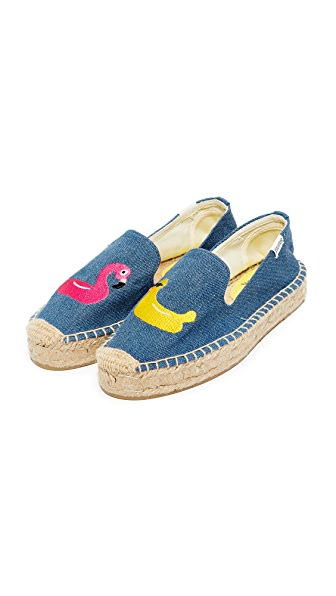 Soludos Floaties Platform Espadrilles - Medium Denim