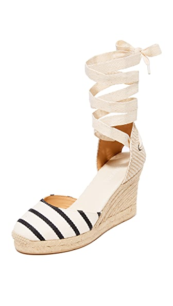 Soludos Striped Gladiator Tall Wedge Espadrilles - Black/Natural