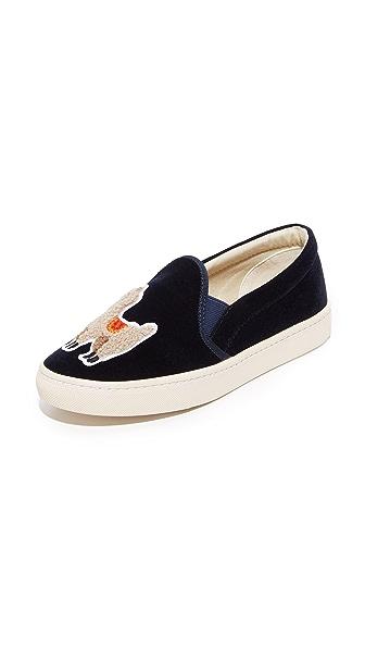 Soludos Velvet Llama Slip On Sneakers In Navy