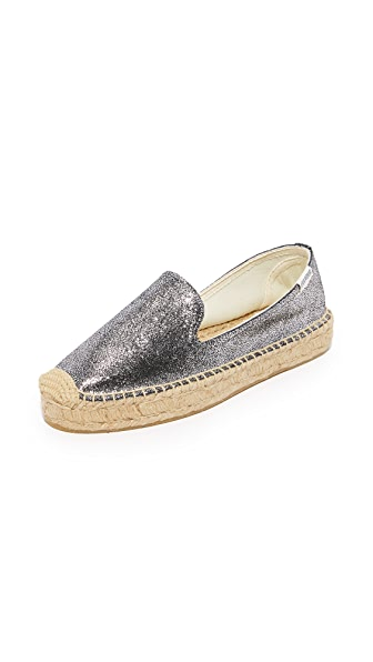 Soludos Metallic Platform Smoking Slippers - Silver