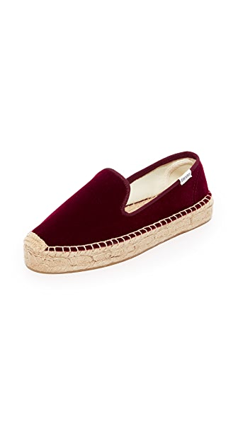 Soludos Velvet Platform Smoking Slippers - Wine