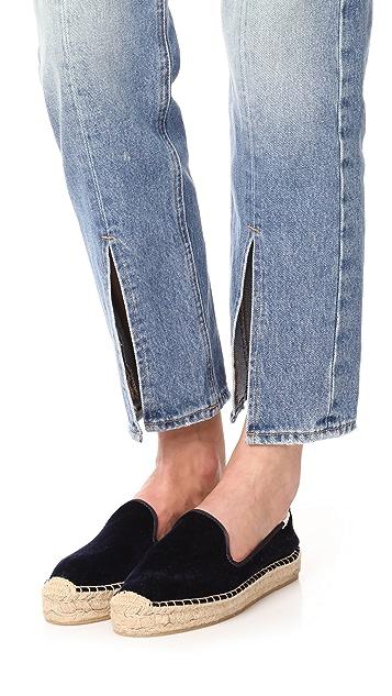 Soludos Velvet Platform Smoking Slippers