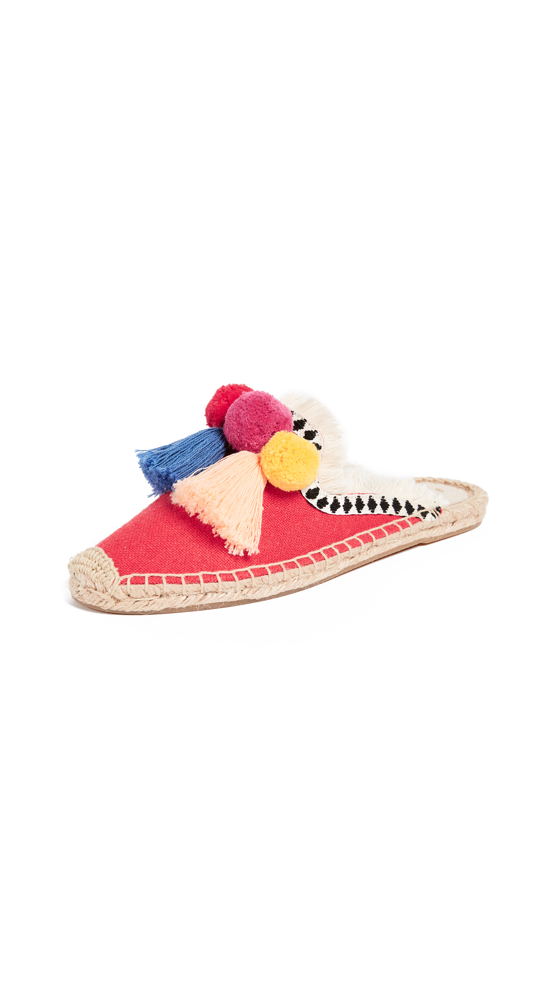 Soludos Frayed Edge Pom Pom Mule - Red Multi