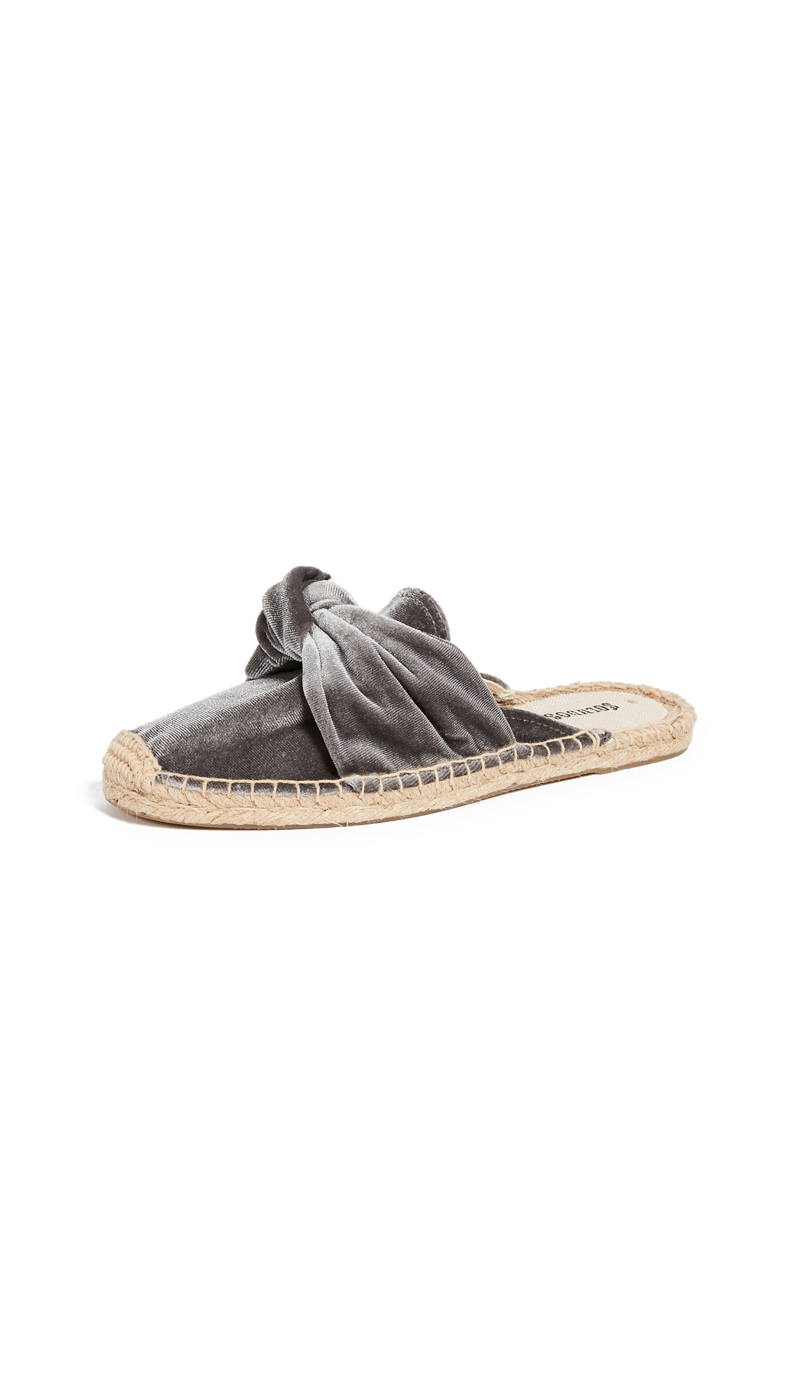 Soludos Knotted Velvet Mules - Gray