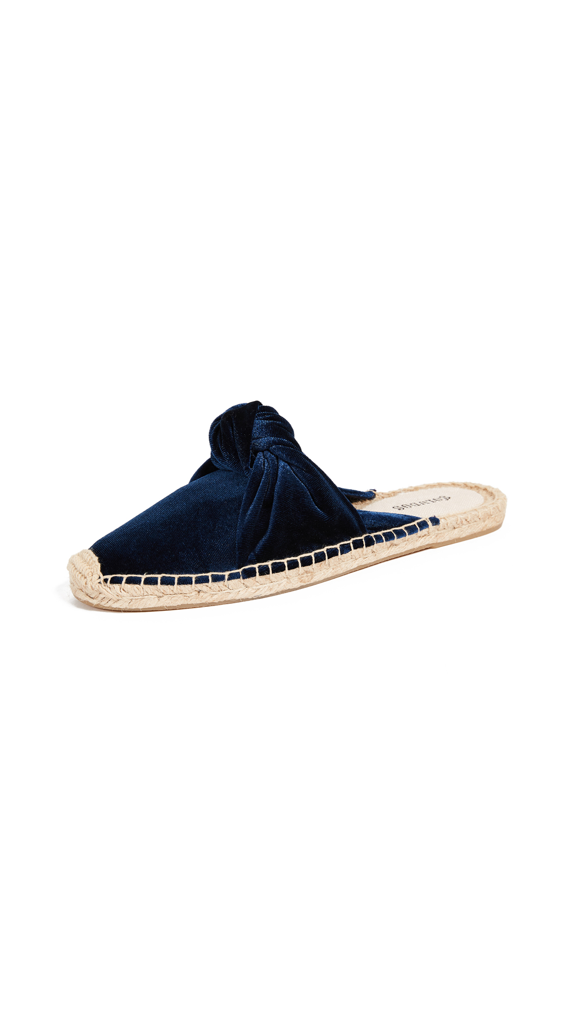 Soludos Knotted Velvet Mules - Blue