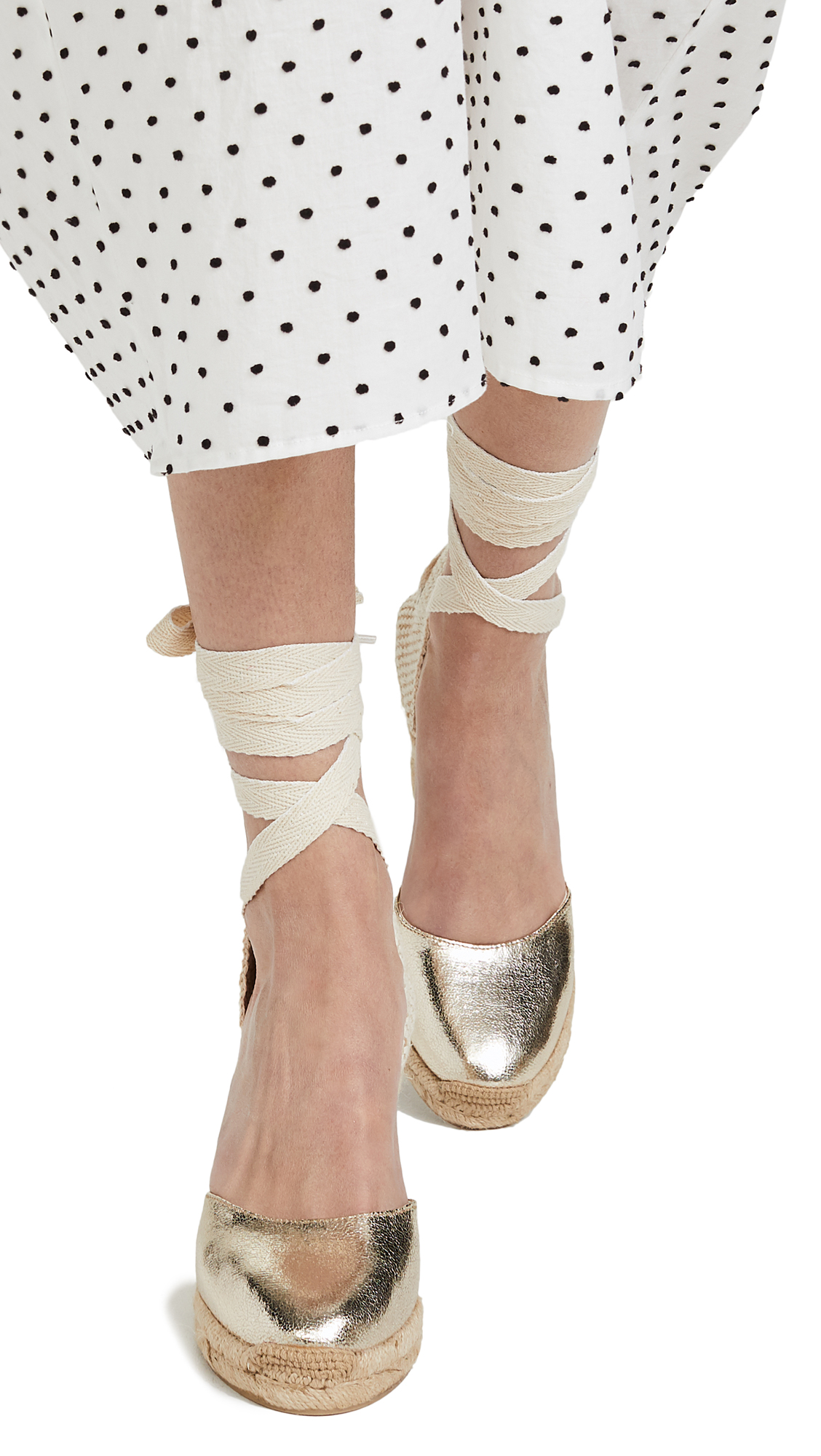 Soludos Metallic Tall Wedges - Pale Gold