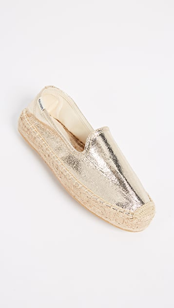 Soludos Platform Metallic Smoking Slippers