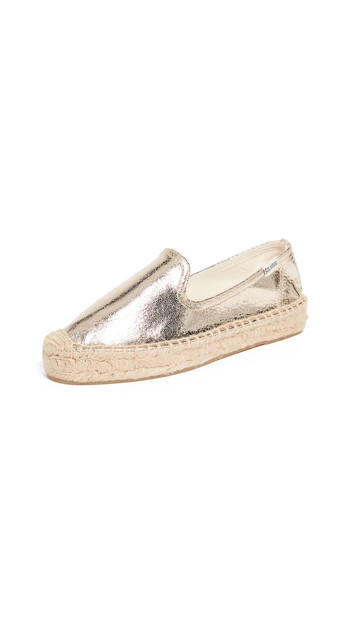 Soludos Platform Metallic Smoking Slippers - Pale Gold