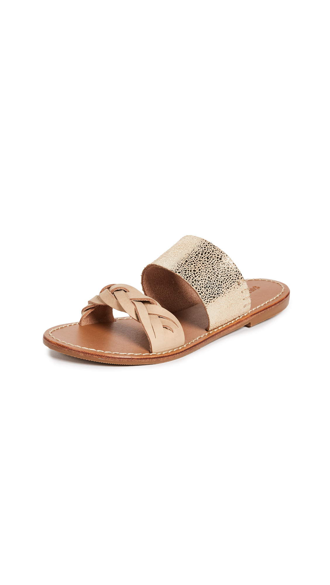 Soludos Metallic Braided Slides - Nude/Pale Gold