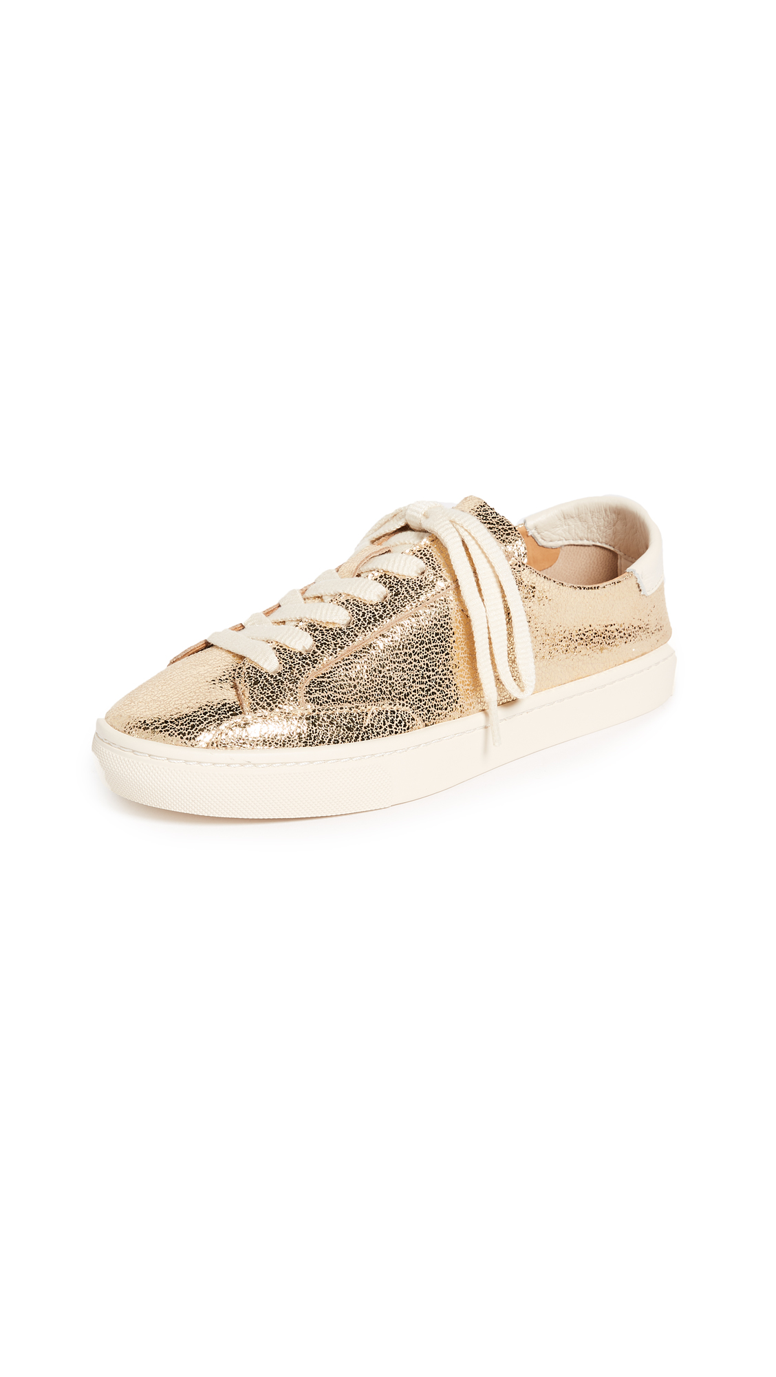 Soludos Metallic Lace Up Sneakers - Pale Gold