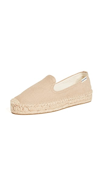 Soludos Platform Canvas Smoking Slipper In Natural