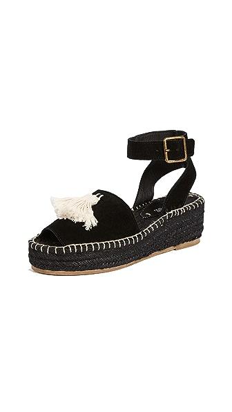 Soludos Peep-Toe Platform Sandals In Black