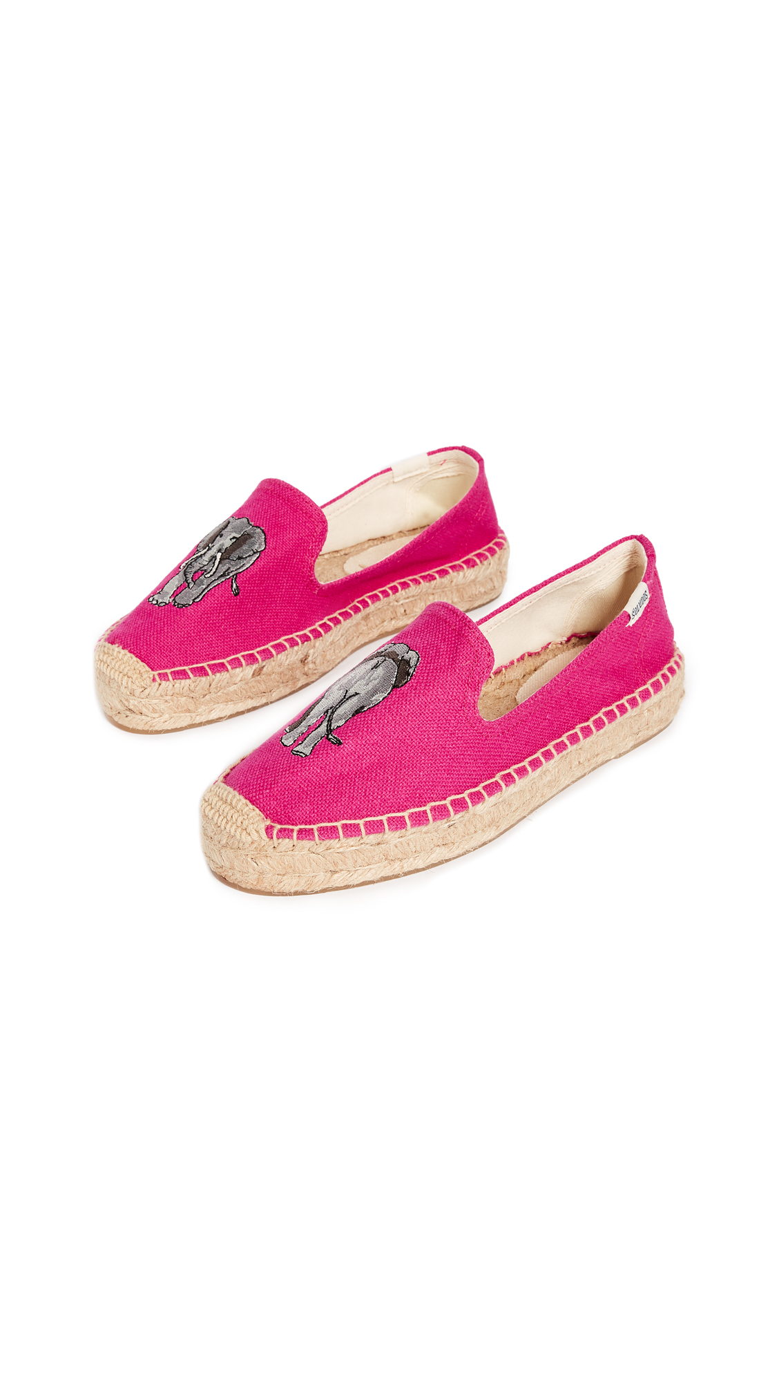 Soludos Elephant Platform Smoking Slippers - Fuchsia