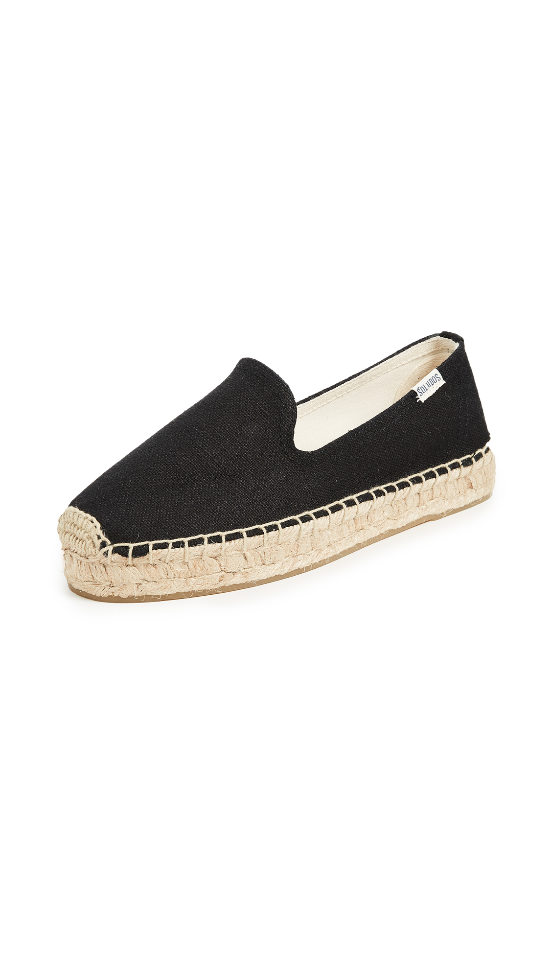 Soludos Platform Smoking Slippers - Black