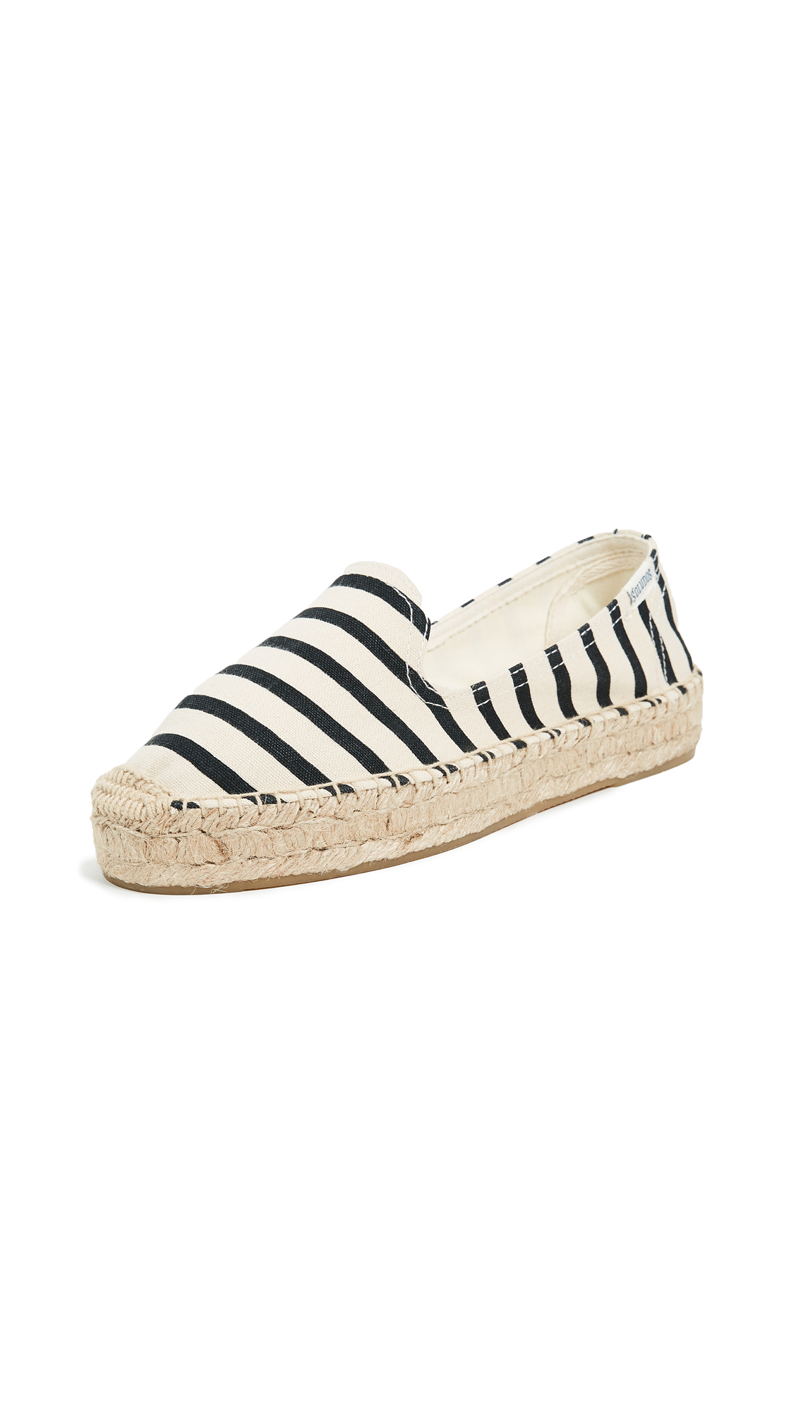 Soludos Classic Stripe Smoking Slippers - Natural/Black