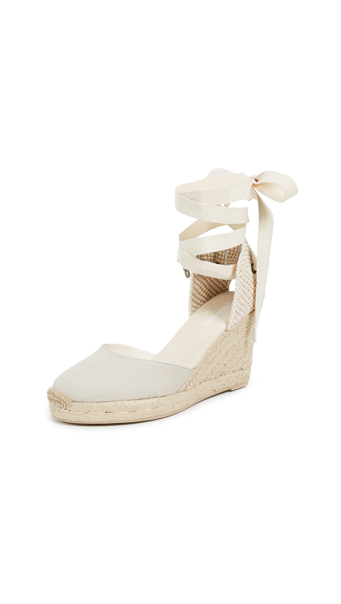 Soludos Tall Wedge Espadrilles - Light Gray