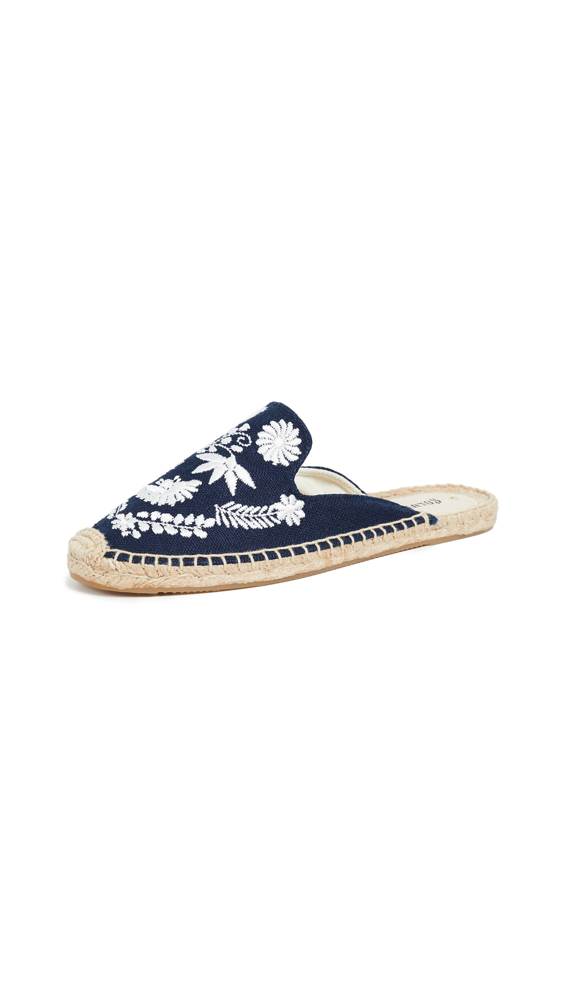 Soludos Ibiza Embroidered Mules - Midnight Blue