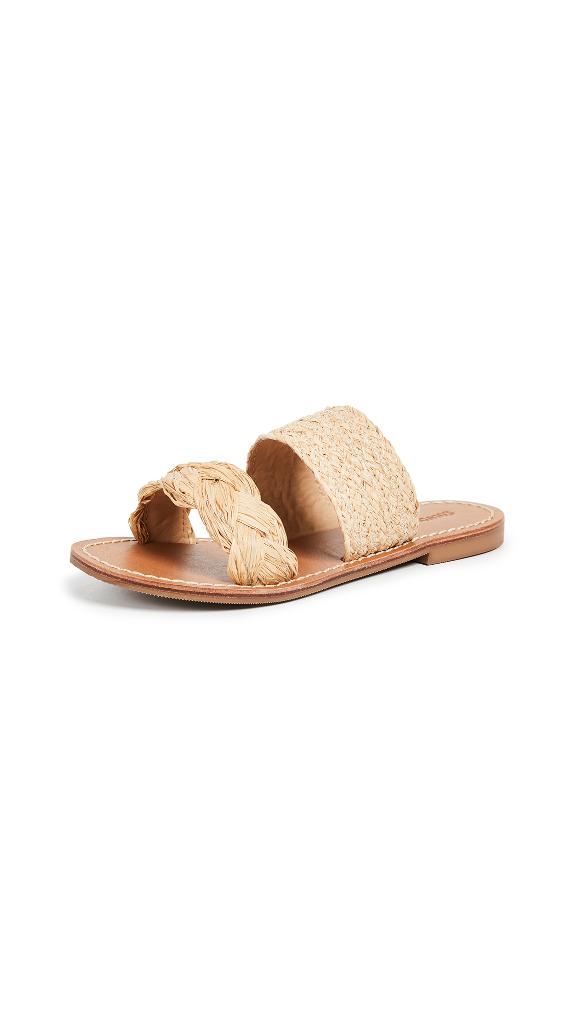 Soludos Raffia Braided Slide Sandals In Natural