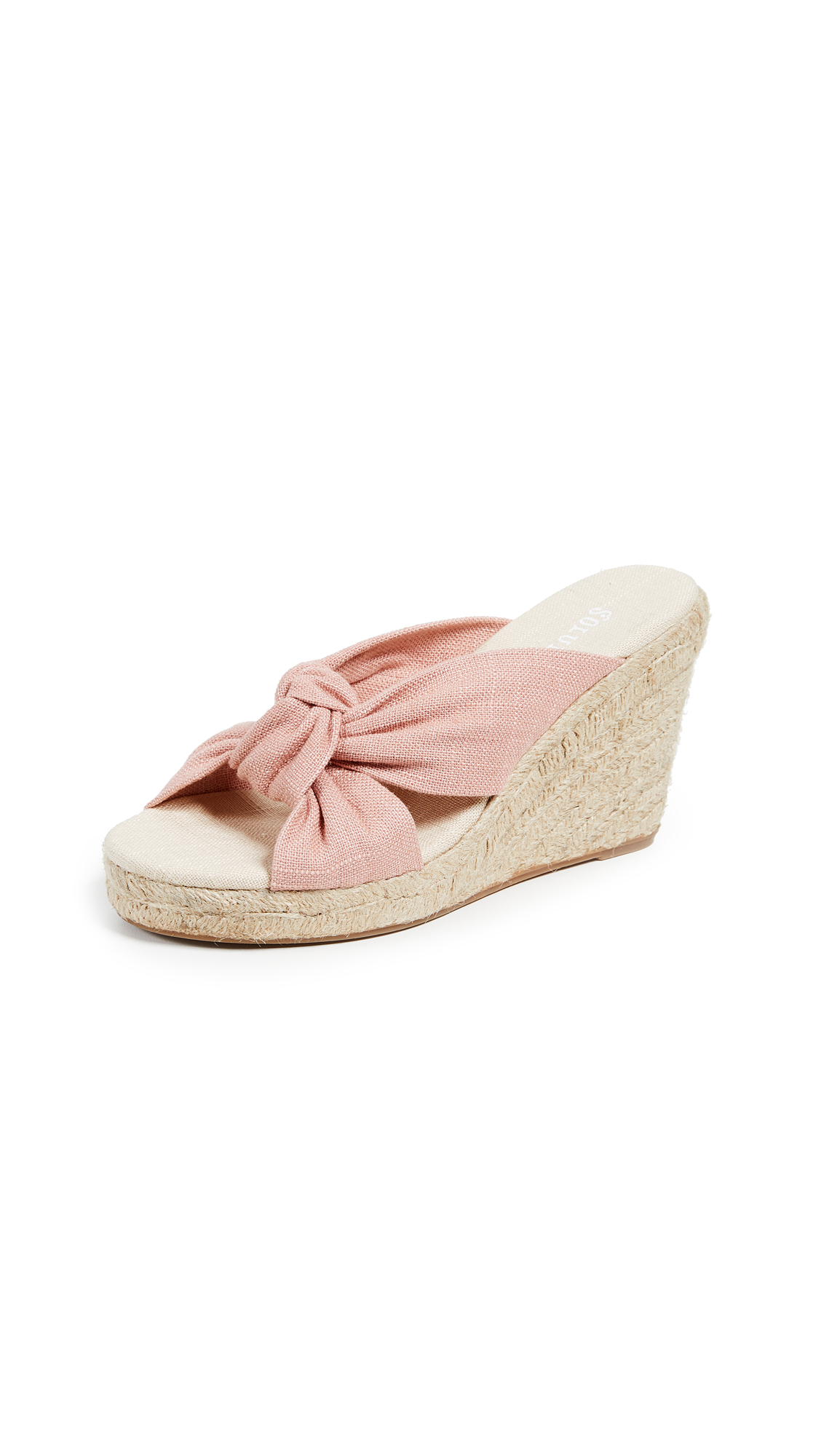 Soludos Knotted Wedge Espadrilles - Dusty Rose