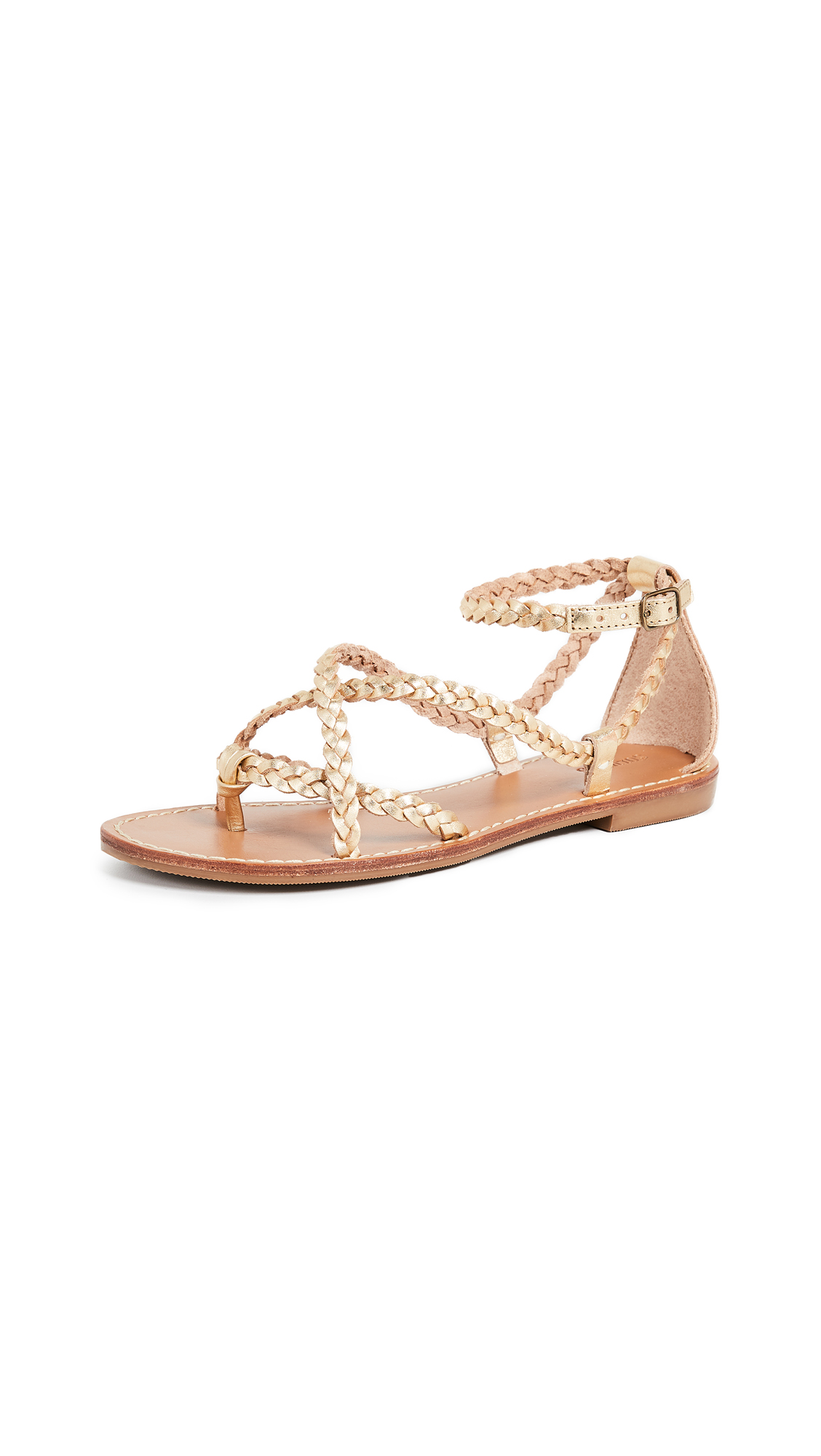 Soludos Amalfi Braided Metallic Sandals - Gold